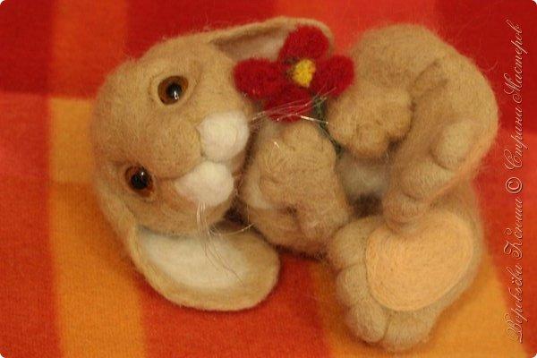 Не так давно у меня родился вот такой крольчонок. Эта моя самая первая большая, валяная игрушка. До этого я всегда делала маленькие валяшки http://stranamasterov.ru/node/910868 У меня бы ничего не получилось если бы не замечательные профессионалы своего дела Татьяна и Юлия Глушковы! У меня есть книга этих авторов по которой я сделала своего кролика. Благодаря этому мастер - классу я узнала о валяние немного нового. фото 5