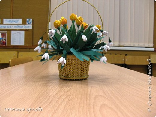 """Доброго времени жители """"Жители страны мастеров """" . Представляю вам свою самую первую корзинку с весенними цветами.       Корзиночку делала по МК Светланы http://stranamasterov.ru/node/377437 фото 1"""