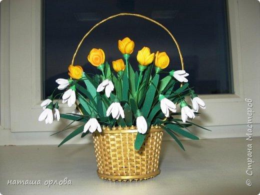 """Доброго времени жители """"Жители страны мастеров """" . Представляю вам свою самую первую корзинку с весенними цветами.       Корзиночку делала по МК Светланы http://stranamasterov.ru/node/377437 фото 2"""