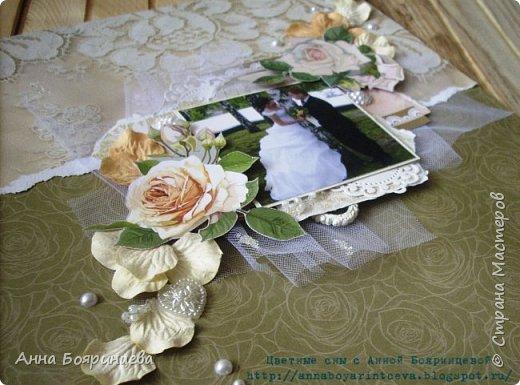 Всем привет!!!! Сегодня я со свадебной объемной страничкой. Размер 30*30 см.Теперь висит на стене и радует)))) фото 5