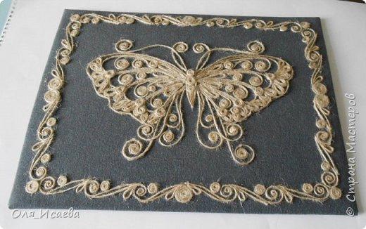 Бабочка из джутового шнура фото 3