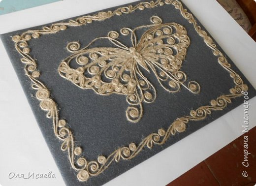 Бабочка из джутового шнура фото 4