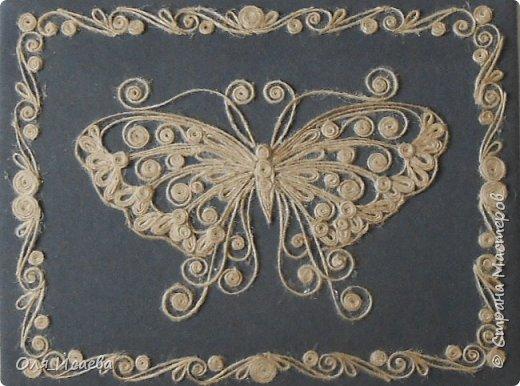 Бабочка из джутового шнура фото 1