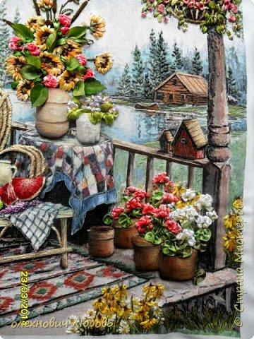 Домик у речки .вышивка лентами фото 3