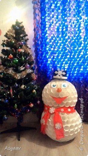 Снеговик из пластиковых стаканчиков!