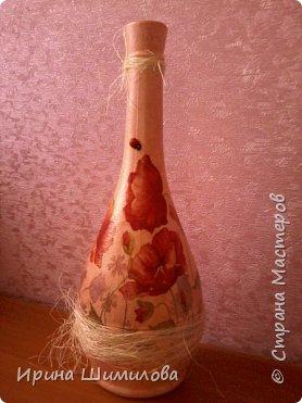 Декор бутылки на рисовой бумаге