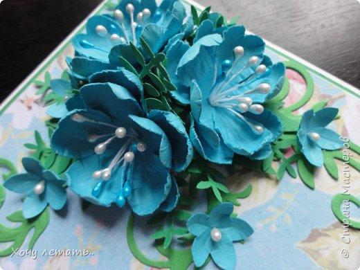 Вот и кончилось  8 марта. Было сделано много открыток в подарок. Вот только часть. Голубые  цветочки выполнены в ручную, надпись распечатана на принтере. фото 2