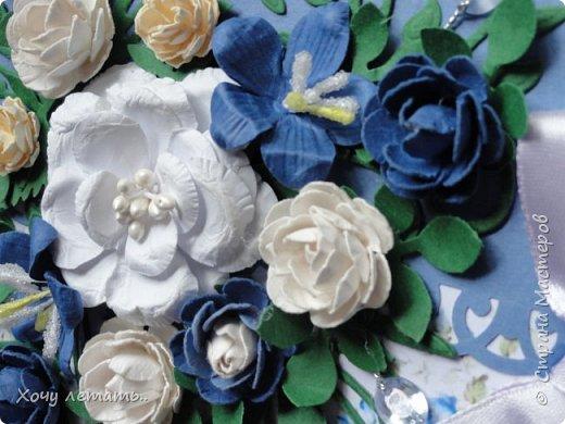 Вот и кончилось  8 марта. Было сделано много открыток в подарок. Вот только часть. Голубые  цветочки выполнены в ручную, надпись распечатана на принтере. фото 5