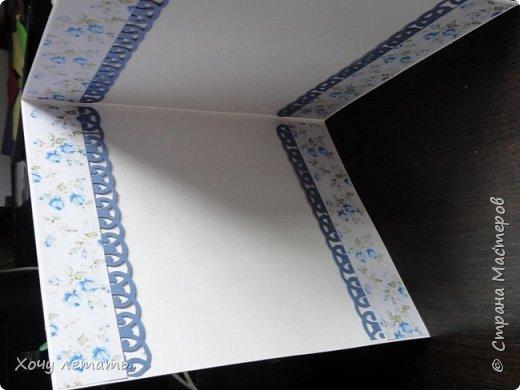 Вот и кончилось  8 марта. Было сделано много открыток в подарок. Вот только часть. Голубые  цветочки выполнены в ручную, надпись распечатана на принтере. фото 6