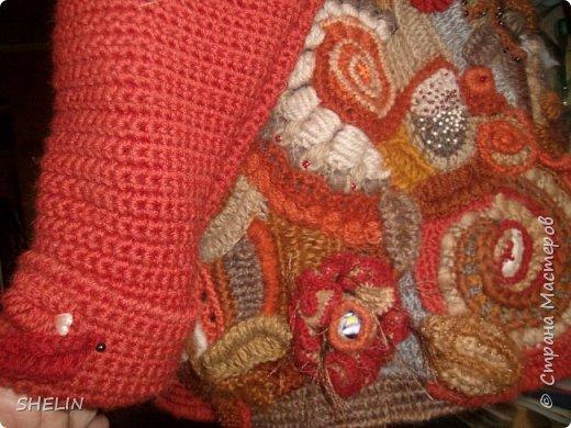 Тёплая кофточка-курточка крючком в стиле фриформ фото 10