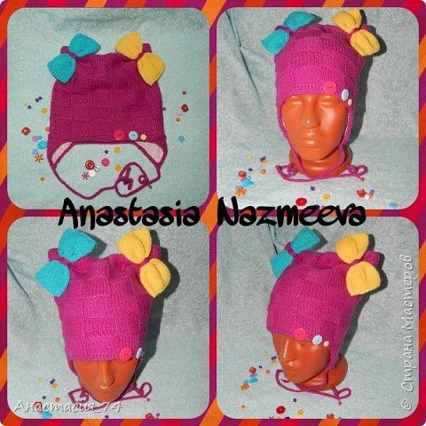 ну очень много фото накопилось. эти шапочки вяжутся по моему МК http://stranamasterov.ru/node/388559 , только в этот раз я вязала на столбиками с накидом, а полустолбиками фото 12
