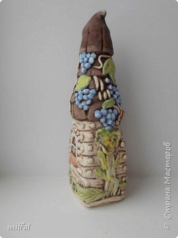 Родился ещё один домик из солёного теста- виноградный. За основу взяла стекл.бутылку из-под льняного масла. фото 4