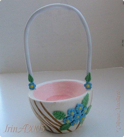 Вот такую корзиночку для пасхального яичка я слепила к празднику. фото 21