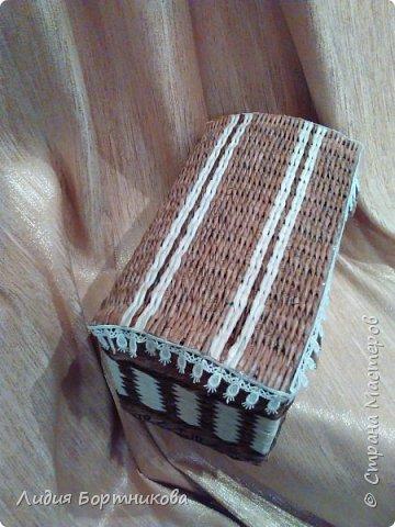 Здравствуйте уважаемые рукодельницы.Хочу сегодня показать вам свой первый плетеный сундучок. фото 5