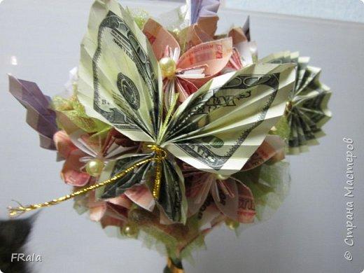 Денежное деревце создано в подарок подруге с пожеланиями счастья и достатка в жизни. фото 5