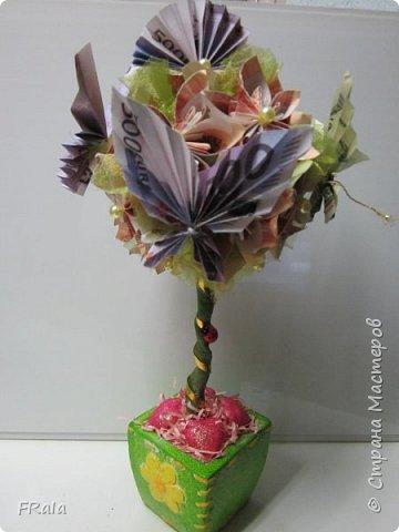 Денежное деревце создано в подарок подруге с пожеланиями счастья и достатка в жизни. фото 2