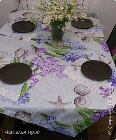 """Здравствуйте дорогие Мастера и Мастерицы! Нынешним весенним днем я к  вам с весенним текстилем!))) Увидела на витрине рогожку """"яблоневый цвет""""  и забоооолела! Сшилось 2 скатерти и два комплекта салфеток(пока два)))).Одна себе любимой, вторая в подарок. фото 8"""