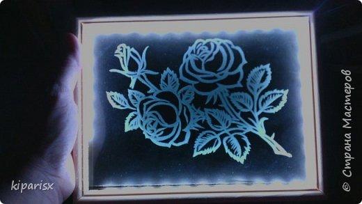 Лунный кошарик ))  Картина с подсветкой, можно использовать как ночник. По краю рамки внутри проклеена светодиодная лента, к ней припаен зарядник от старого мобильника. Задняя часть сделана из панели мдф. В качестве фона использовался цветной картон тёмных тонов. фото 2