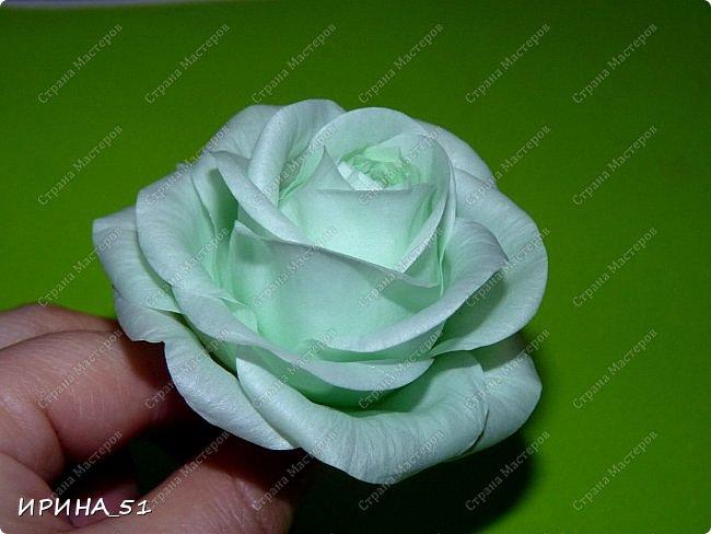 Добрый день дорогие соседи замечательной Страны Мастеров! Сегодня я к Вам с очередной порцией фоамирановых цветов.  Приглашаю к просмотру.  Новая роза. Собственная разработка, сложная серединка, многослойное окрашивание.  фото 3