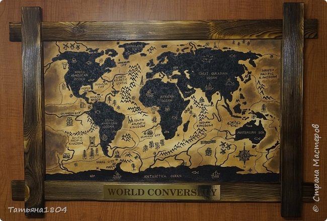 """Карта """"Мир наоборот"""" (вместо воды - суша, вместо суши - вода). Размер вместе с рамкой 72х50 см. Полностью написана вручную (акрил, кофе), материки из кофейной гущи, рамка - обжиг и брашировка. фото 1"""