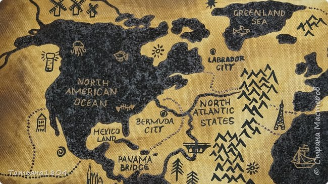 """Карта """"Мир наоборот"""" (вместо воды - суша, вместо суши - вода). Размер вместе с рамкой 72х50 см. Полностью написана вручную (акрил, кофе), материки из кофейной гущи, рамка - обжиг и брашировка. фото 4"""