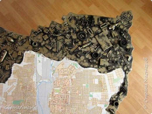Здравствуйте, все! Эта карта была сделана для друзей, работающих во вторсырье. Основа - фанера, в форме нашего Пермского края, а на ней карта города Лысьва фото 4