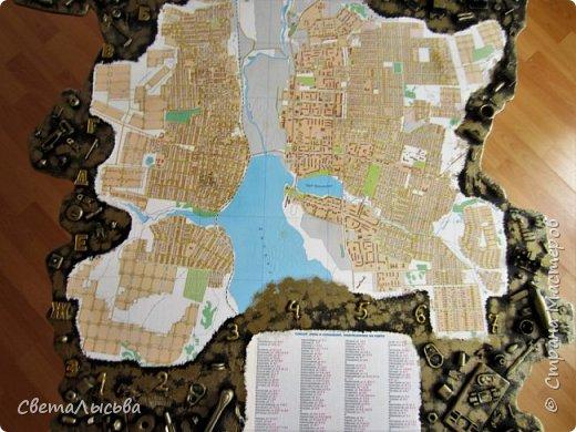 Здравствуйте, все! Эта карта была сделана для друзей, работающих во вторсырье. Основа - фанера, в форме нашего Пермского края, а на ней карта города Лысьва фото 5