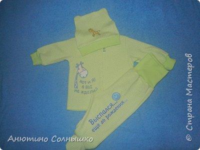 Комплекты малышу.  Ткань интерлок и рибана+термотрансферы. фото 2