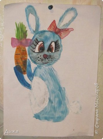 Привет всем! Вот такого зайчонка, нарисовала я на днях. фото 1