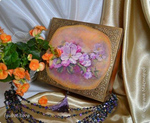 """шкатулка для крупных украшений"""" Яблонь розовый дым"""" фото 1"""