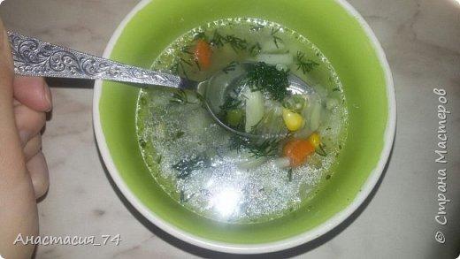 """Суп получился очень вкусный, быстрый и легкий) А сварила я его из того что было под рукой. Этот суп кушала даже моя младшая дочь, которая не любит """"Мексиканскую смесь"""" фото 1"""