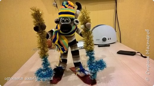"""обезьянка на новый год,заняли 1 место """"обезьянка-лыжница"""""""