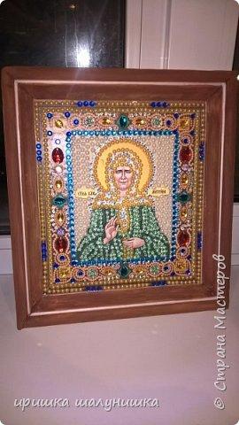 обклеивание иконы стразами,рамка из потолочного багета покрашена гуашью