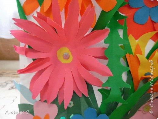 Ко дню рождения детского сада мы с дочкой (6 лет) приготовили  вот такую аппликацию . фото 4