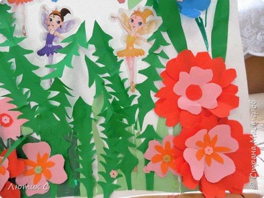 Ко дню рождения детского сада мы с дочкой (6 лет) приготовили  вот такую аппликацию . фото 7
