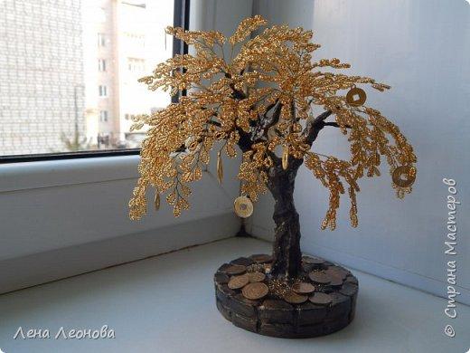 Здраствуйте мастера и мастерицы. Снова у меня денежные деревья. В этот раз сделала в золотом цвете. Бисер чешский. Делались на одном дыхании. фото 2