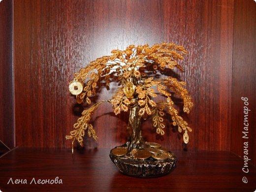 Здраствуйте мастера и мастерицы. Снова у меня денежные деревья. В этот раз сделала в золотом цвете. Бисер чешский. Делались на одном дыхании. фото 16
