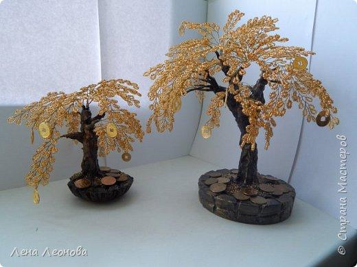 Здраствуйте мастера и мастерицы. Снова у меня денежные деревья. В этот раз сделала в золотом цвете. Бисер чешский. Делались на одном дыхании. фото 1