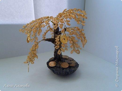 Здраствуйте мастера и мастерицы. Снова у меня денежные деревья. В этот раз сделала в золотом цвете. Бисер чешский. Делались на одном дыхании. фото 12