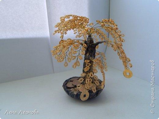 Здраствуйте мастера и мастерицы. Снова у меня денежные деревья. В этот раз сделала в золотом цвете. Бисер чешский. Делались на одном дыхании. фото 13