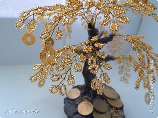 Здраствуйте мастера и мастерицы. Снова у меня денежные деревья. В этот раз сделала в золотом цвете. Бисер чешский. Делались на одном дыхании. фото 14
