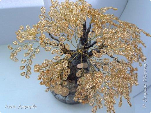 Здраствуйте мастера и мастерицы. Снова у меня денежные деревья. В этот раз сделала в золотом цвете. Бисер чешский. Делались на одном дыхании. фото 8