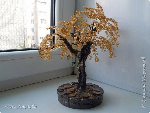 Здраствуйте мастера и мастерицы. Снова у меня денежные деревья. В этот раз сделала в золотом цвете. Бисер чешский. Делались на одном дыхании. фото 4