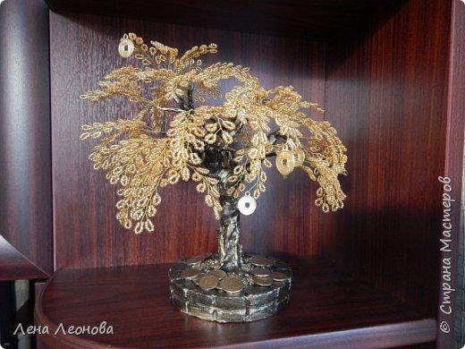 Здраствуйте мастера и мастерицы. Снова у меня денежные деревья. В этот раз сделала в золотом цвете. Бисер чешский. Делались на одном дыхании. фото 9