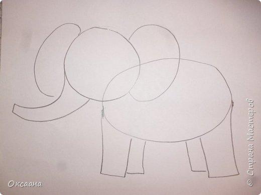 Рисовали с детьми 5-6 лет мамонтов . Образец фото 2