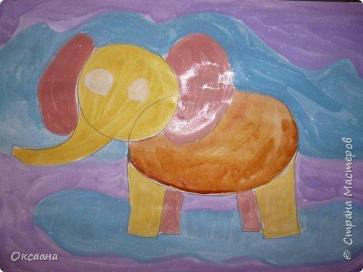 Рисовали с детьми 5-6 лет мамонтов . Образец фото 4