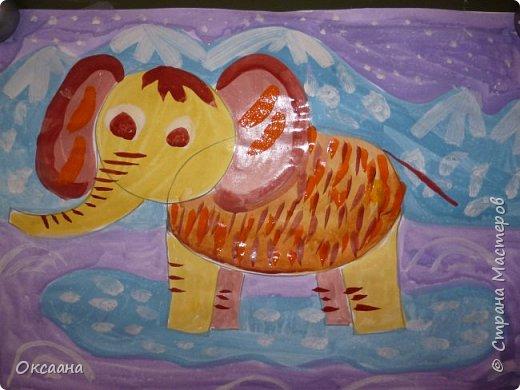 Рисовали с детьми 5-6 лет мамонтов . Образец фото 5