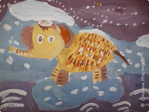 Рисовали с детьми 5-6 лет мамонтов . Образец фото 6