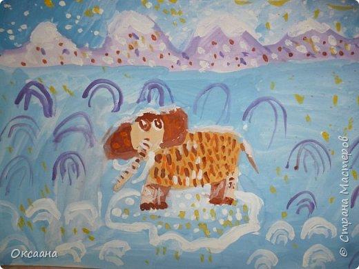 Рисовали с детьми 5-6 лет мамонтов . Образец фото 8