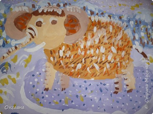 Рисовали с детьми 5-6 лет мамонтов . Образец фото 9